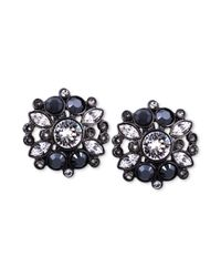 Givenchy - Black Hematite-Tone Jet Stone and Swarovski Element Clip-On Earrings - Lyst