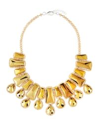 Panacea | Metallic Golden Beaded Statement Necklace | Lyst