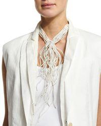 Brunello Cucinelli | White Riverstone Choker Tie Necklace | Lyst