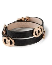 BVLGARI - Black Double Coiled Bracelet - Lyst