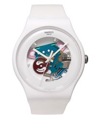 Swatch - Unisex Swiss White Lacquered White Silicone Strap 41mm Suow100 - Lyst