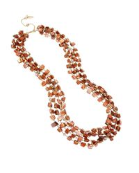 Kenneth Cole - Orange Gold-tone Shell Chip Bead Multi-row Long Necklace - Lyst
