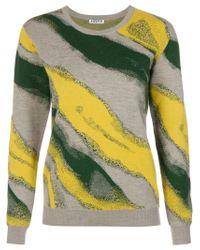 AALTO - Gray Intarsia Knit Sweater - Lyst