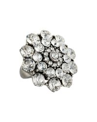 Oscar de la Renta | Metallic Round Crystal Cocktail Ring | Lyst