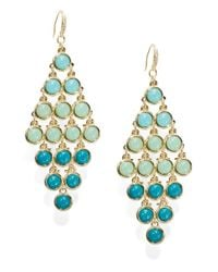 ABS By Allen Schwartz | Blue Cabochon Chandelier Earrings | Lyst
