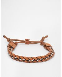 Jack & Jones | Brown Leather Plaited Bracelet for Men | Lyst