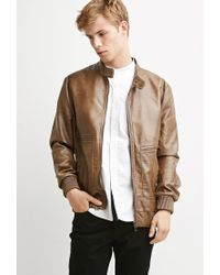Forever 21 | Brown Faux Leather Snap-collar Jacket for Men | Lyst