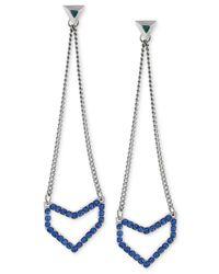 BCBGeneration | Metallic Silver-tone Blue Crystal Geometric Chain Drop Earrings | Lyst