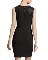 Halston - Black Sequined-Yoke Sleeveless Sheath Cocktail Dress - Lyst