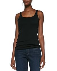 Eileen Fisher - Black Organic Cotton Slim Tank - Lyst