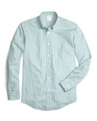 Brooks Brothers - Blue Non-iron Milano Fit Micro Gingham Sport Shirt for Men - Lyst