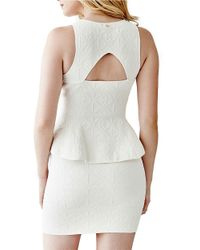 Guess | Natural Jacquard Peplum Top | Lyst