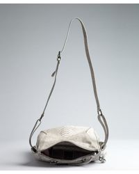 Kooba - Gray Grey Croc Embossed Leather Buckle Detailed Erin Shoulder Bag - Lyst