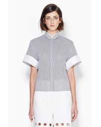 3.1 Phillip Lim - Black Boxy Top With Rolled Cuffs - Lyst