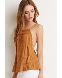 Forever 21 - Yellow Embroidered Y-back Cami - Lyst
