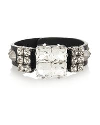 Miu Miu | Black Studded Leather and Swarovski Crystal Bracelet | Lyst