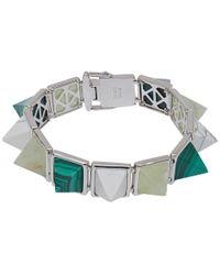 Eddie Borgo - Metallic Silver-plated Gemstone Pyramid Bracelet - Lyst