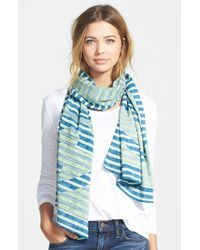 Tory Burch - Blue 'Reva' Stripe Scarf - Lyst