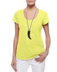 Eileen Fisher - Yellow Short-sleeve Scoop-neck Tee - Lyst