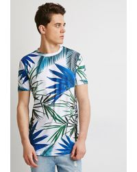Forever 21 - Blue Tropical Curved-hem Tee - Lyst