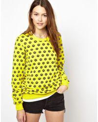 Markus Lupfer | Yellow Smacker Lip Print Sweatshirt | Lyst