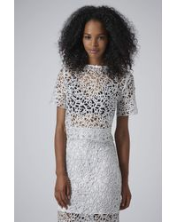 TOPSHOP - Metallic Limited Edition Corn Lace Crop Top - Lyst