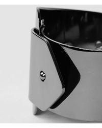 AllSaints - Gray Stud Buckle Cuff - Lyst