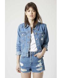 TOPSHOP - Blue Moto Vintage Western Jacket - Lyst