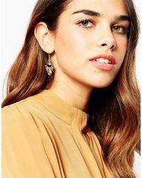ASOS - Metallic Geo Stone Drop Earrings - Lyst