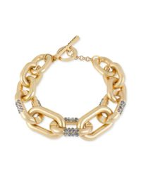 Kenneth Cole - Metallic Goldtone Pave Crystal Link Toggle Bracelet - Lyst