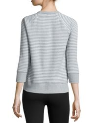 James Perse | Blue Striped Raglan Sweatshirt | Lyst