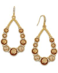 INC International Concepts - Natural Gold-tone Cream Stone Teardrop Earrings - Lyst