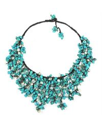 Aeravida   Blue Handmade Turquoise Waterfall Bib Necklace   Lyst