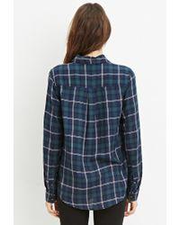 Forever 21 - Blue Tartan Plaid Shirt - Lyst