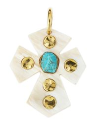 Ashley Pittman | Metallic Mwamba Light Horn Cross Pendant With Turquoise | Lyst