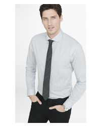 Express | Gray Fitted Basket Weave Print Dress Shirt for Men | Lyst