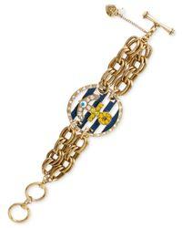 Betsey Johnson - Metallic Gold-Tone Crystal Anchor Chain Toggle Bracelet - Lyst