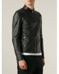 Salvatore Santoro | Black Band Collar Biker Jacket for Men | Lyst