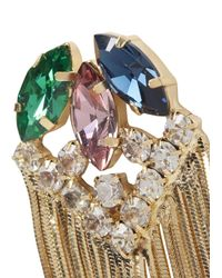 Iosselliani - Metallic Gold Tone Embellished Drop Earrings - Lyst