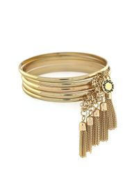 BCBGeneration | Metallic Chained To My Heart Tassel Bangle Bracelet Set - Goldtone | Lyst