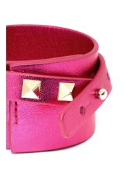Valentino | Pink Rockstud Double Wrap Leather Bracelet | Lyst