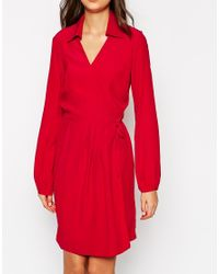 ASOS | Red Tall Exclusive Wrap Dress With Long Sleeve And Tie Waist | Lyst
