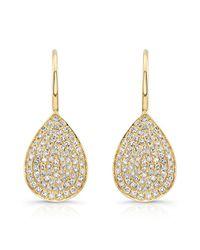 Anne Sisteron - Metallic 14kt Yellow Gold Diamond Small Pear Shaped Earrings - Lyst