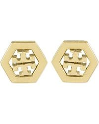 Tory Burch | Metallic Hexagon Logo Earrings | Lyst