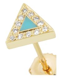 Jennifer Meyer - Blue 18karat Gold Turquoise and Diamond Triangle Earrings - Lyst