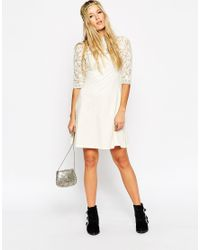 ASOS | White Skater Dress With High Neck And Mixed Lace Inserts | Lyst