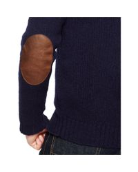 Polo Ralph Lauren - Blue Wool-angora Shawl Sweater for Men - Lyst