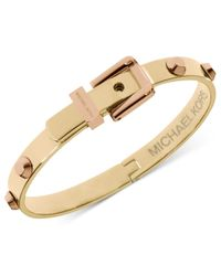 Michael Kors - Metallic Two-Tone Hinge Buckle Bangle Bracelet - Lyst
