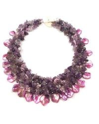 Aeravida - Purple Amethyst And Seashells Cluster Stone Toggle Necklace - Lyst