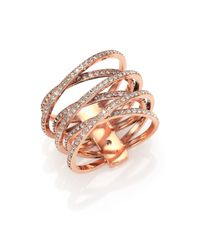 Michael Kors | Pink Brilliance Statement Pave Crisscross Ring/rose Goldtone | Lyst